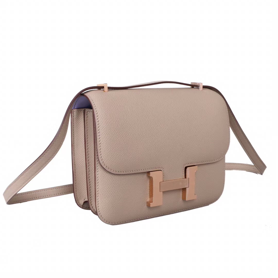 Hermès(爱马仕)Constace 空姐包 风衣灰内拼薰衣草紫 epsom皮 玫瑰金扣 19cm