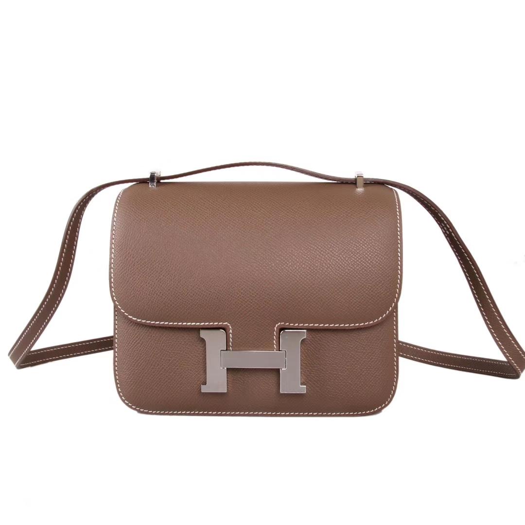 Hermès(爱马仕)Constace 空姐包 大象灰 epsom皮 银扣 19cm