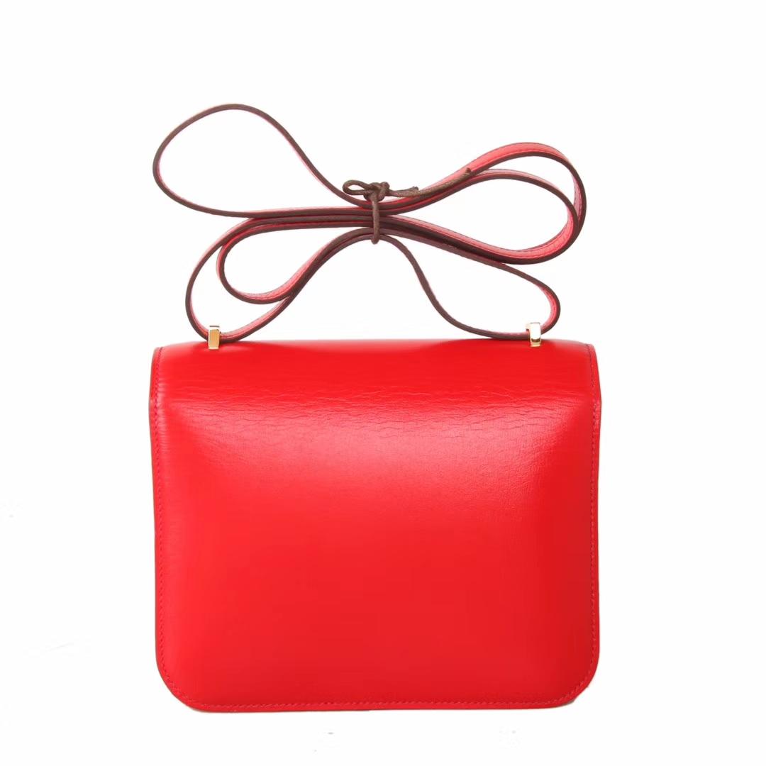 Hermès(爱马仕)Constace 空姐包 S5番茄红 box皮 金扣 19cm