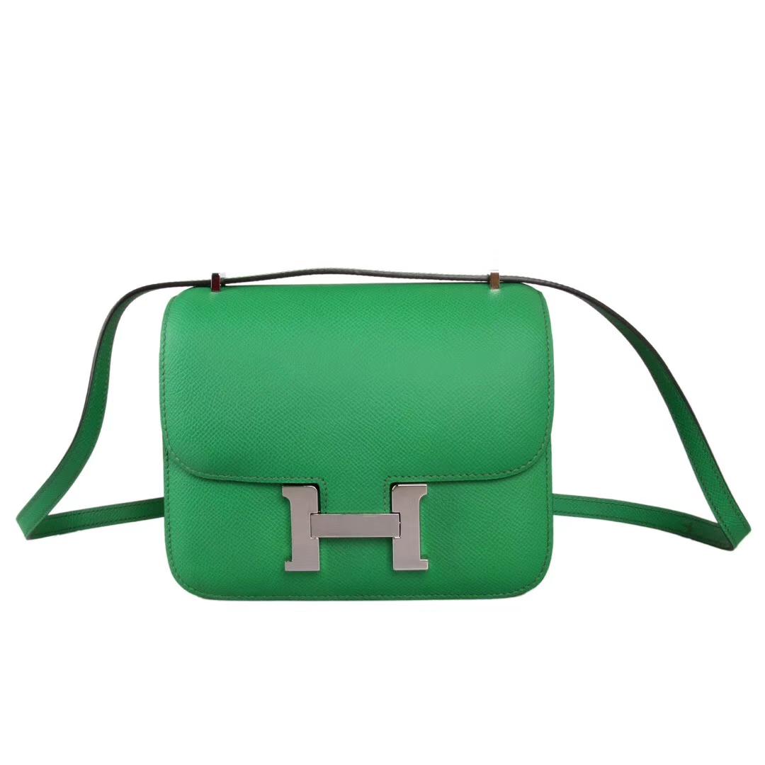 Hermès(爱马仕)Constace 空姐包 竹子绿 epsom皮 银扣 19cm