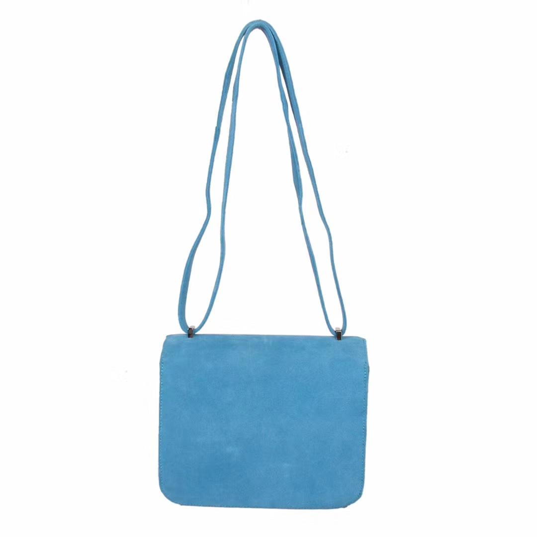 Hermès(爱马仕)Constace 空姐包 天空蓝 麂皮 银扣