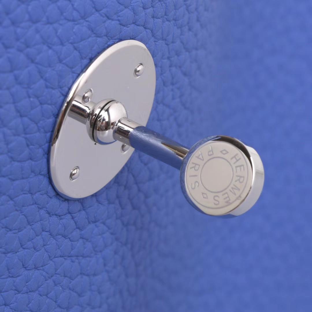 Hermès(爱马仕)Lindy 琳迪包 7E布莱顿蓝 togo 银扣 26cm