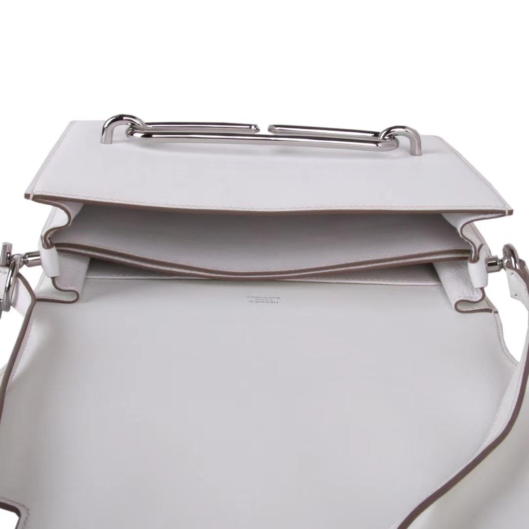 Hermès(爱马仕)roulis 猪鼻包 奶昔白 swift皮 银扣 23cm
