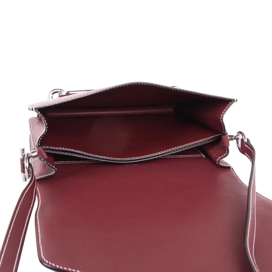 Hermès(爱马仕)roulis 猪鼻包 酒红色 swift皮 银扣 23cm