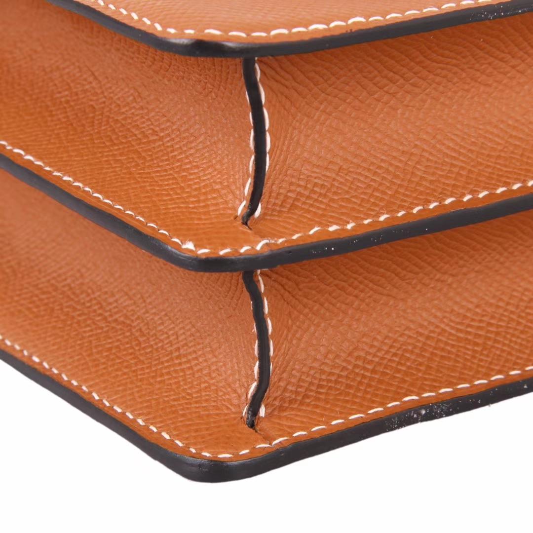 Hermès(爱马仕)roulis 猪鼻包 金棕色  Epsom皮 银扣 23cm