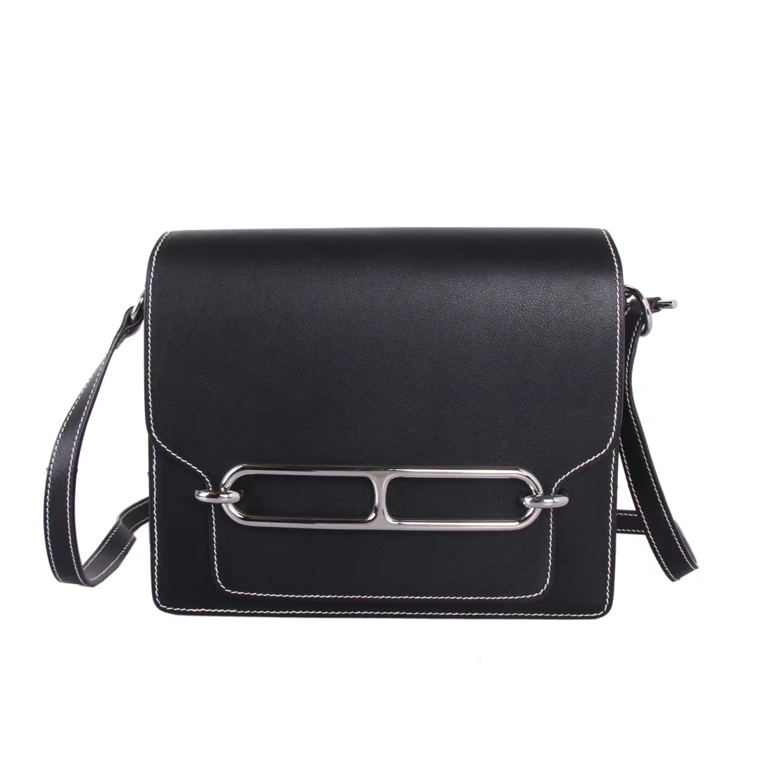 Hermès(爱马仕)roulis 猪鼻包 黑色 box皮 银扣 23cm