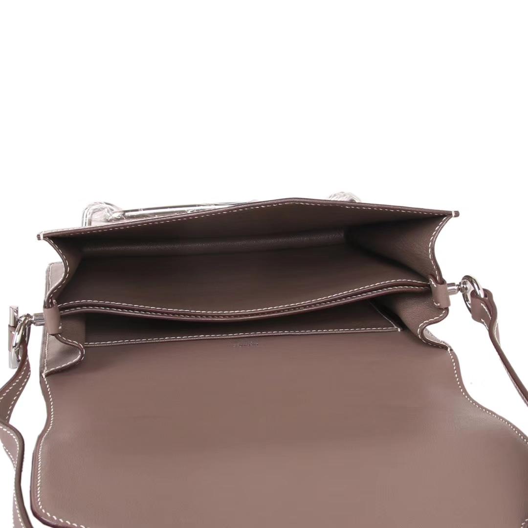 Hermès(爱马仕)roulis 猪鼻包 大象灰 swift皮 银扣 23cm