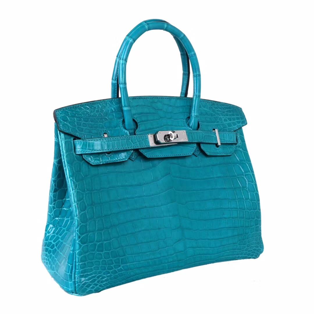 Hermès(爱马仕)Birkin铂金包 7V湖水蓝亮面鳄鱼 银扣 30cm