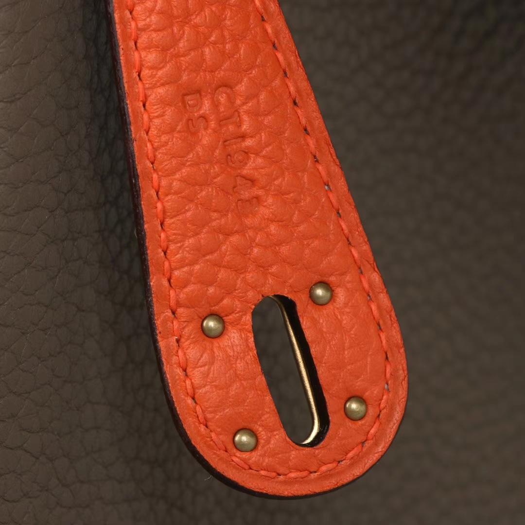 Hermès(爱马仕)Lindy 26CM 金扣 大象灰拼橘色 togo