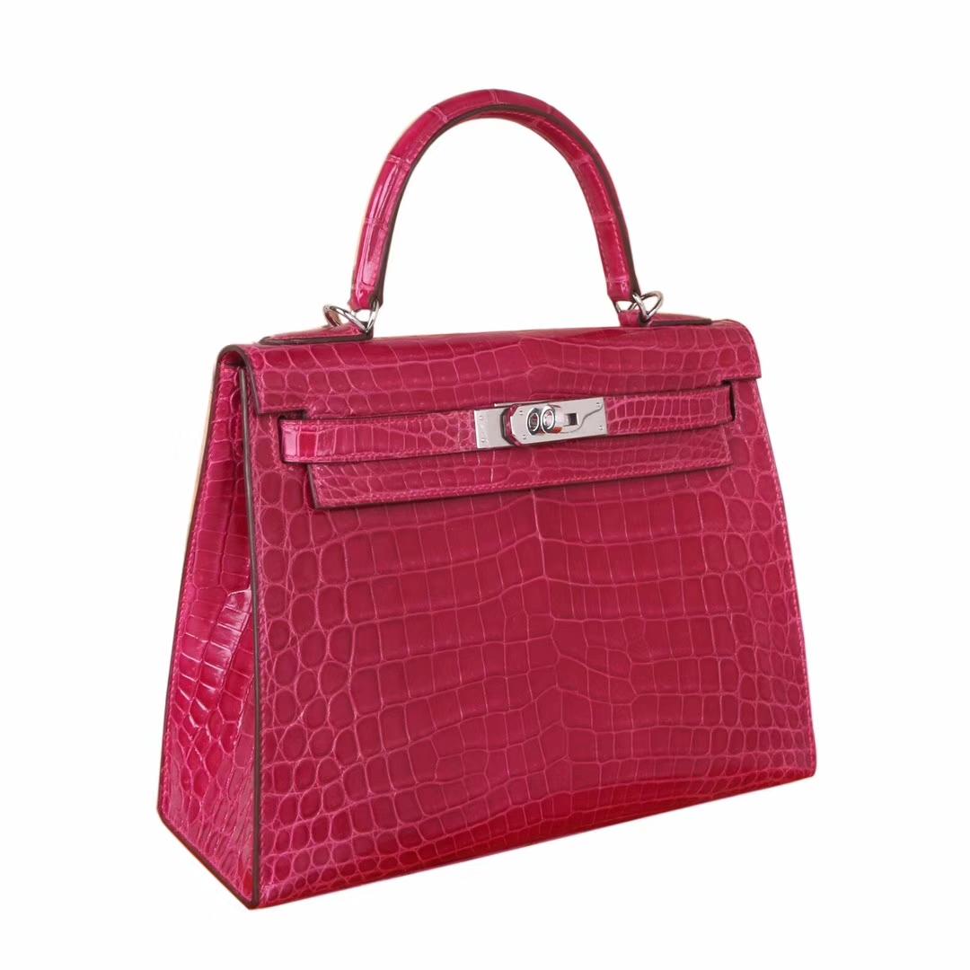 Hermès(爱马仕)Kelly 凯莉包 5J桃红 亮面鳄鱼 银扣 28cm