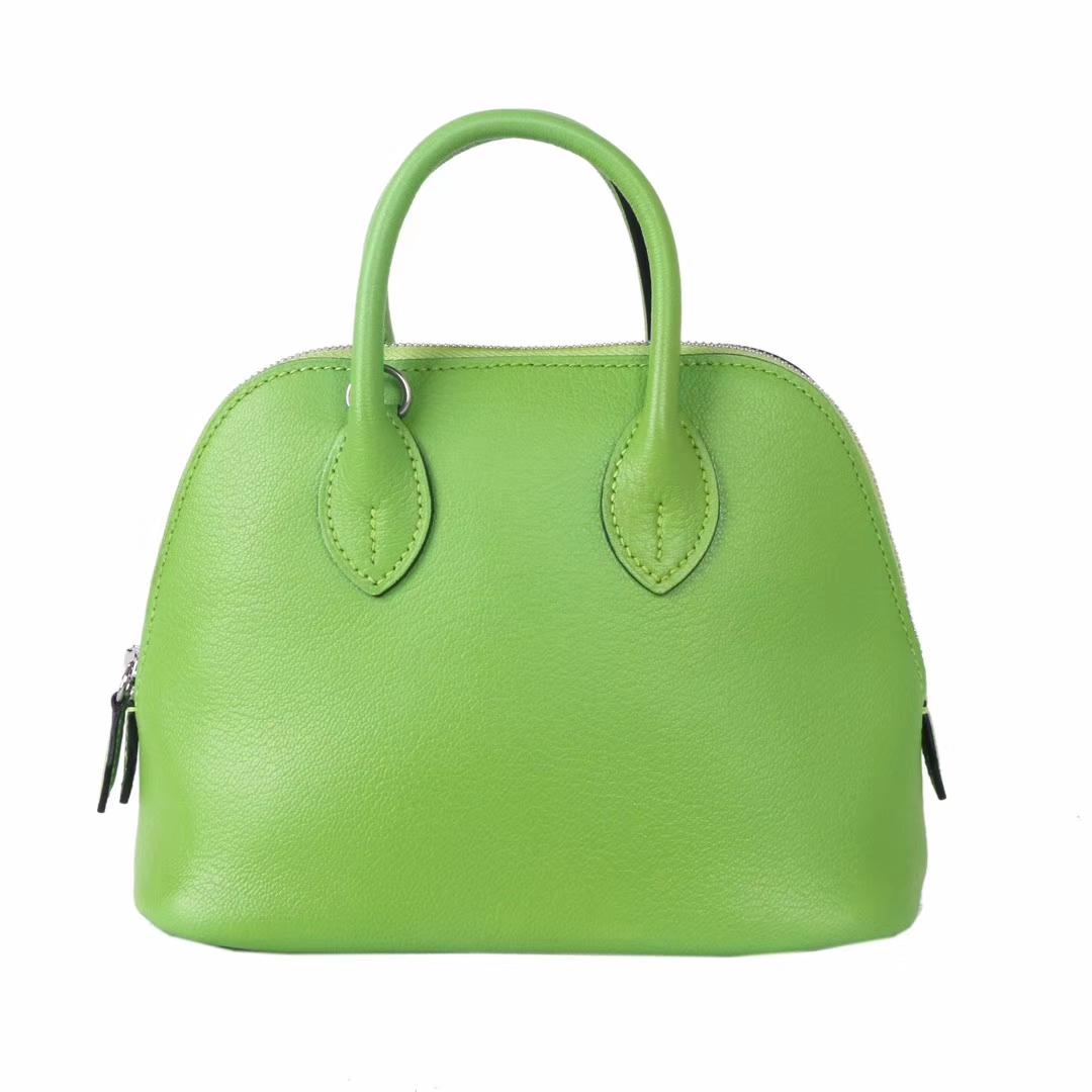 Hermès(爱马仕)minibolide 保龄球包 6R奇异果绿 山羊皮 银扣 18cm