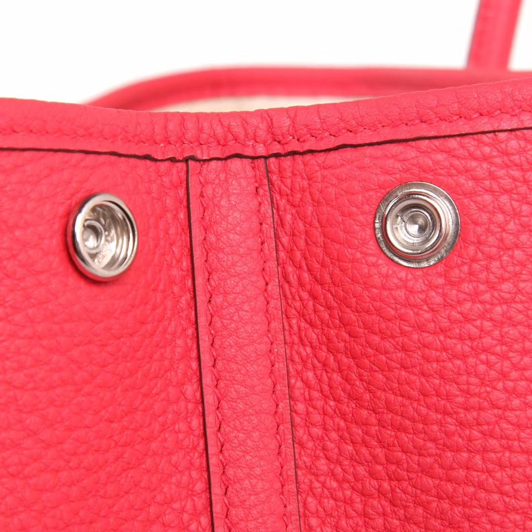 Hermès(爱马仕)Garden 花园包 西瓜红 togo 银扣 30cm