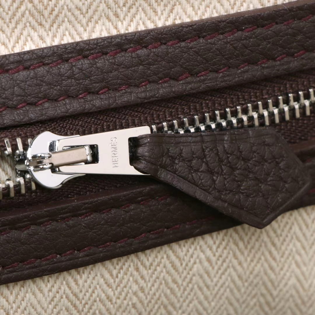 Hermès(爱马仕)Garden 花园包 深咖啡色 togo 银扣 30cm