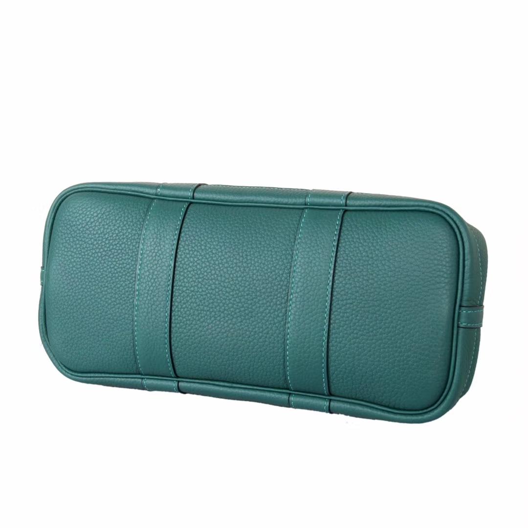 Hermès(爱马仕)Garden 花园包 孔雀绿 togo 银扣 30cm