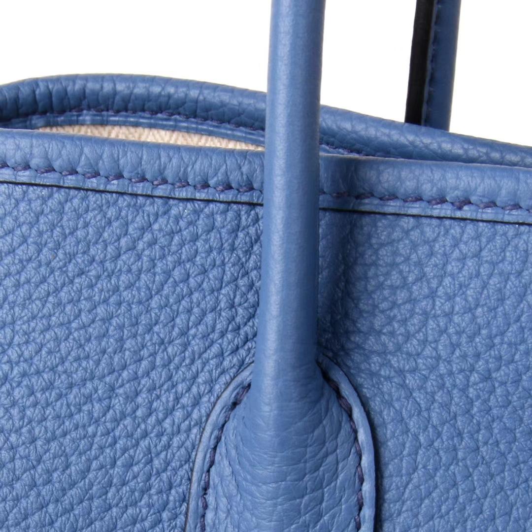 Hermès(爱马仕)Garden 花园包 布莱顿蓝 togo 银扣 30cm