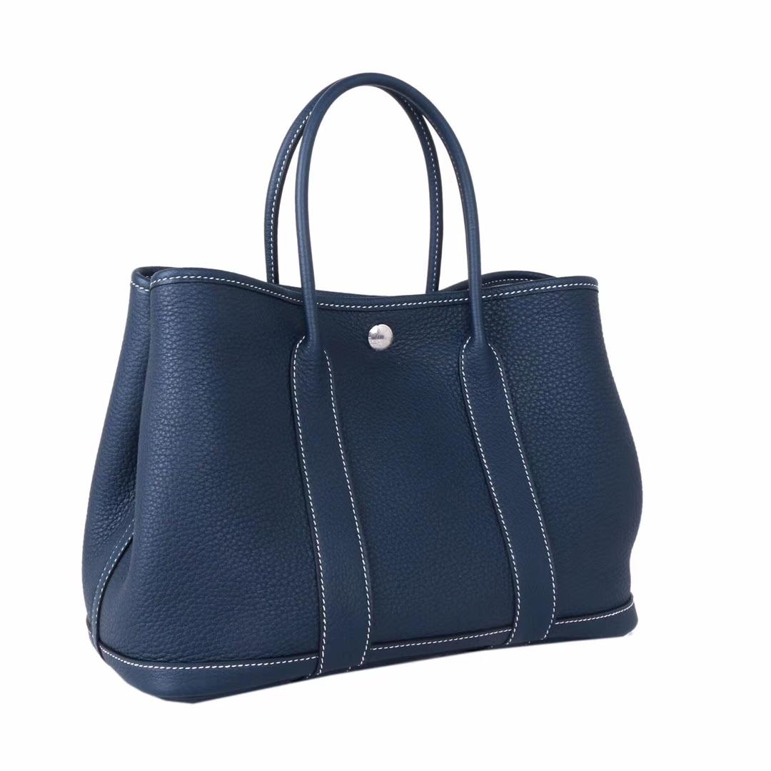Hermès(爱马仕)Garden 花园包 1P鸭子蓝 togo 银扣 30cm