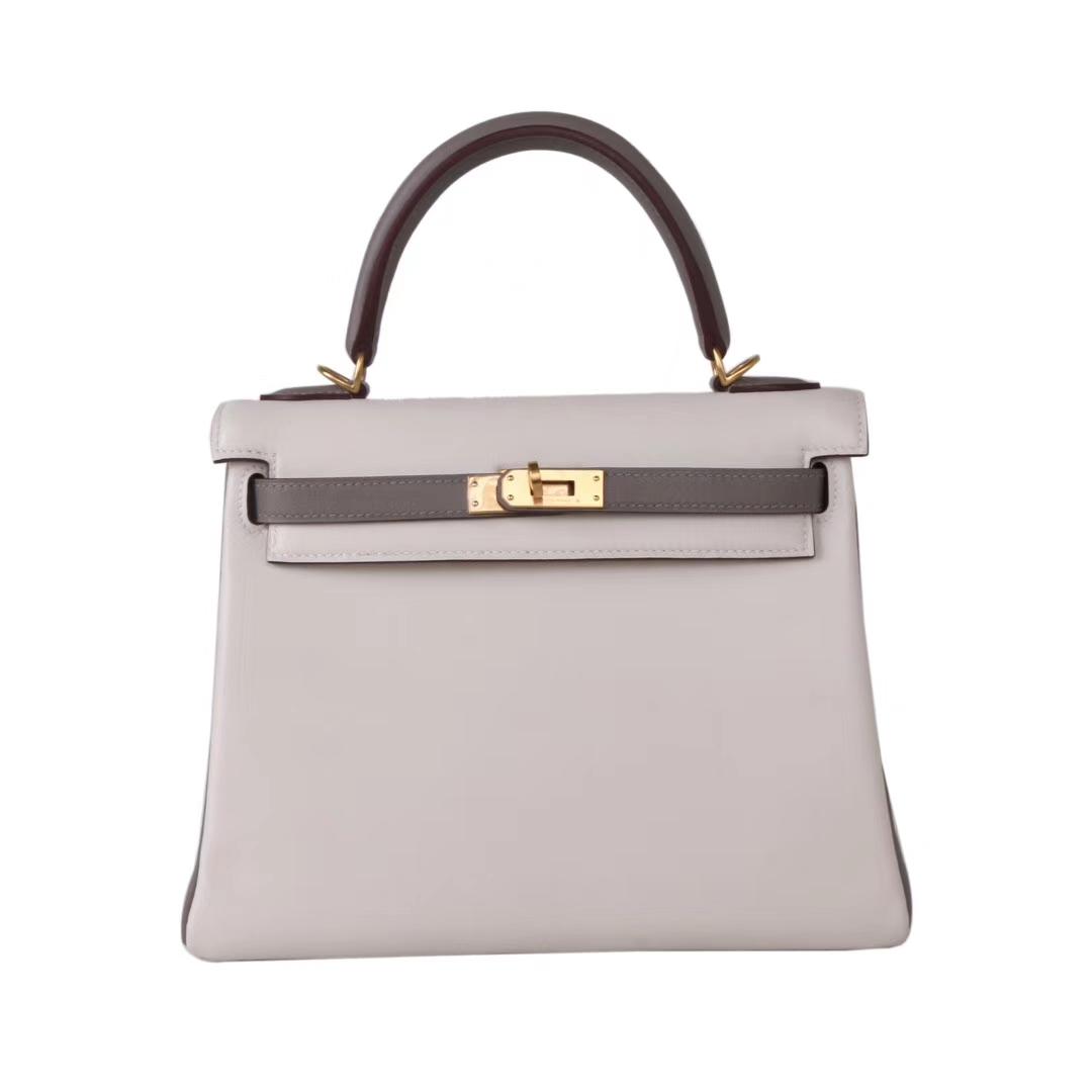 Hermès(爱马仕)Kelly 凯莉包 金棕色 奶昔白拼大象灰 Swift皮 金扣 25cm