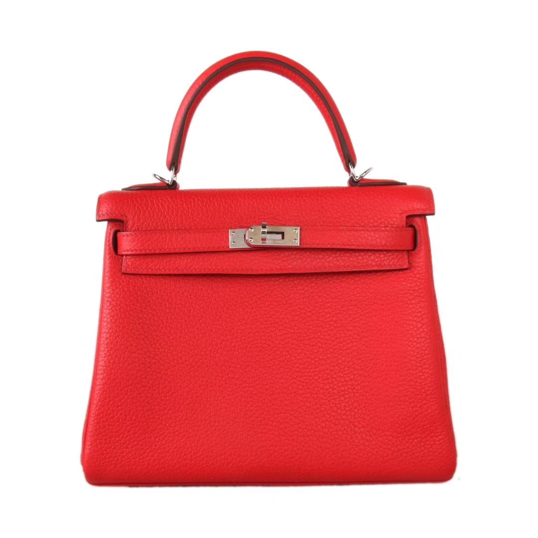 Hermès(爱马仕)Kelly 凯莉包 番茄红 Togo 银扣 25cm