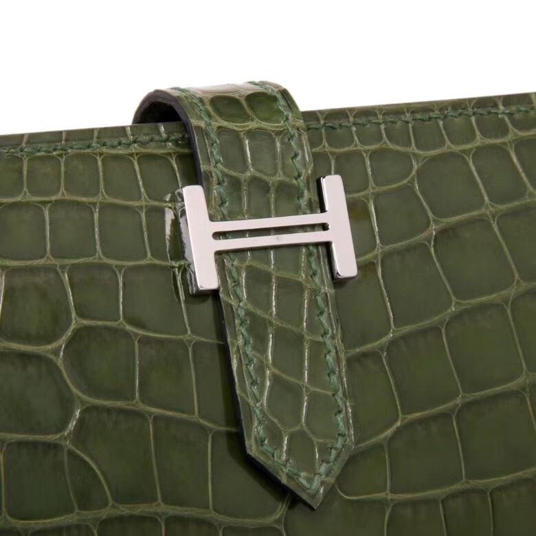 Hermès(爱马仕)Bearn H扣 丛林绿 亮面鳄鱼