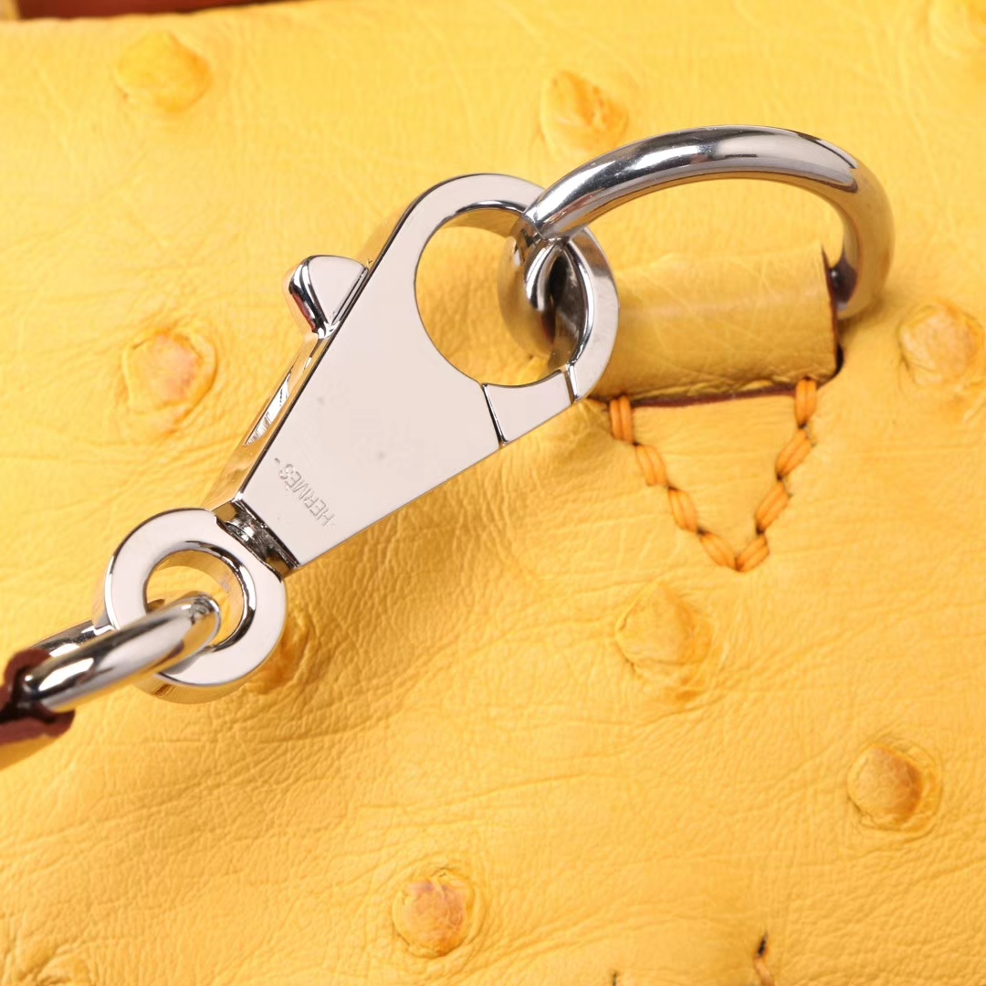 Hermès(爱马仕)Kelly 2424 琥珀黄鸵鸟拼咖啡色鳄鱼 银扣 29CM