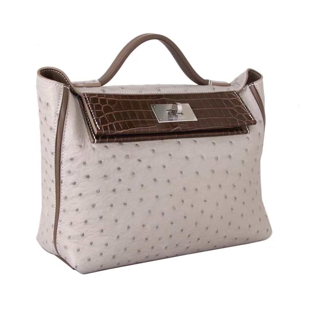 Hermès(爱马仕)Kelly 2424 斑鸠灰鸵鸟 拼咖啡色鳄鱼 银扣 29cm