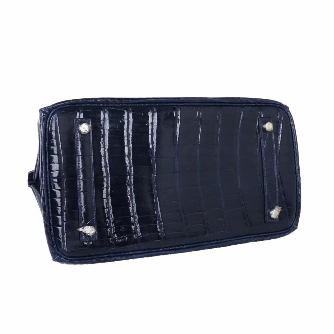 Hermès(爱马仕)Birkin 2Z午夜蓝 亮面鳄鱼 银扣 35cm