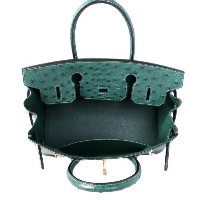 Hermès(爱马仕)Birkin 铂金包 6Q翡翠绿 鸵鸟 金扣 30cm