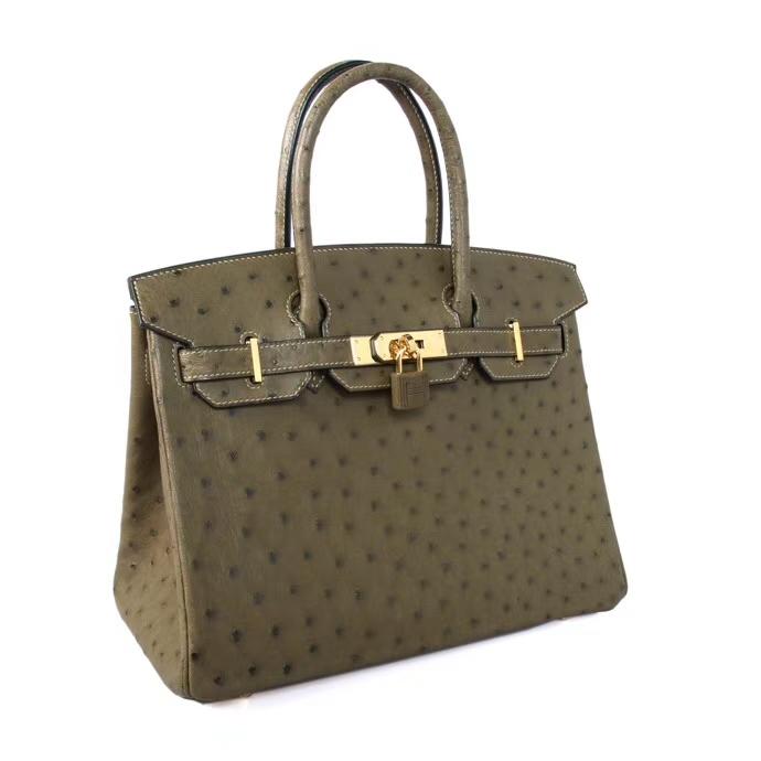 Hermès(爱马仕)Birkin 铂金包 V6丛林绿 鸵鸟 金扣 30cm