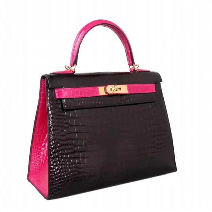 Hermès(爱马仕)Kelly 凯莉包 黑拼桃红 亮面鳄鱼 金扣 28cm