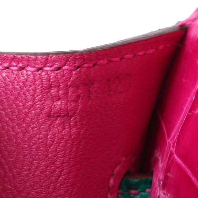 Hermès(爱马仕)Kelly 凯莉包 天方夜谭紫拼翡翠绿 亮面鳄鱼 金扣 28cm