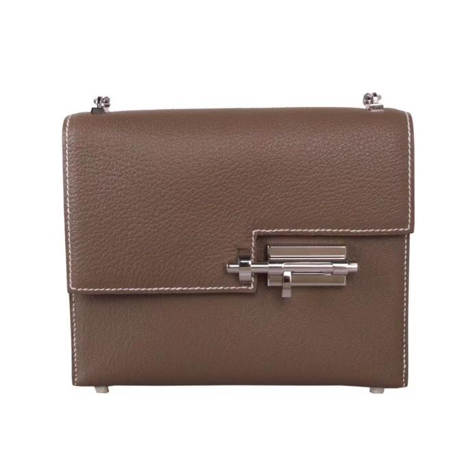 Hermès(爱马仕)Verrou 锁链包 CK18大象灰 山羊皮 银扣 17cm
