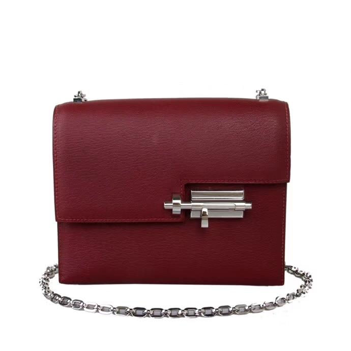 Hermès(爱马仕)Verrou 锁链包 CK55爱马仕红 山羊皮 银扣 17cm