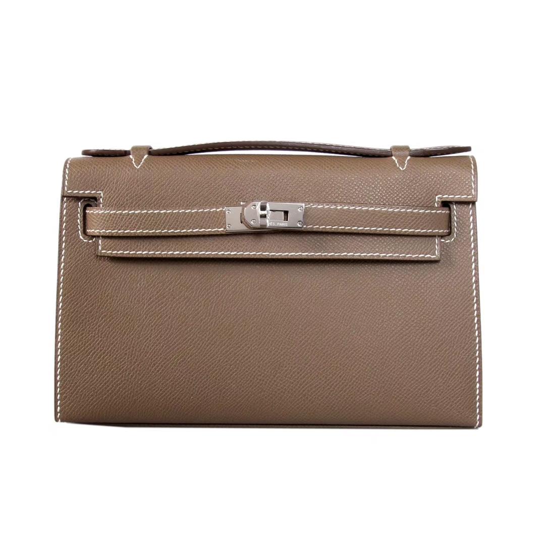 Hermès(爱马仕)miniKelly 迷你凯莉 CK18大象灰 epsom皮 1代 银扣 22cm