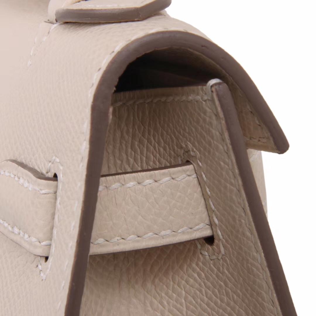 Hermès(爱马仕)miniKelly 迷你凯莉 CK10奶昔白 epsom皮 1代 金扣 22cm