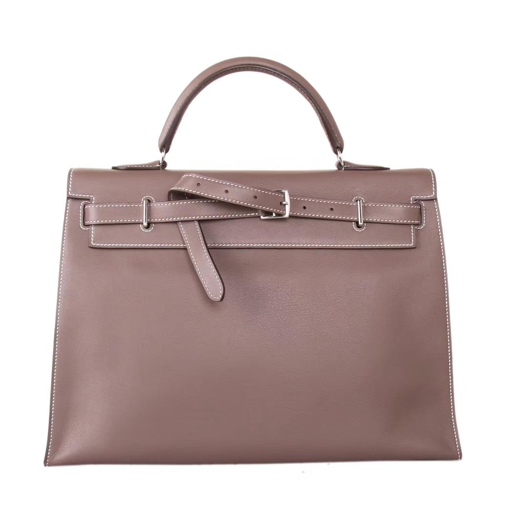 Hermès(爱马仕)Kelly Flat 大象灰 银扣 swift皮 35cm