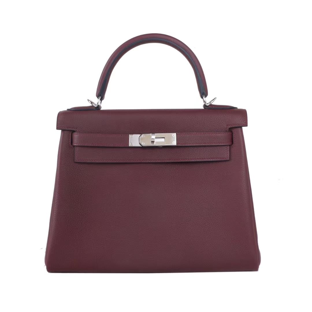 Hermès(爱马仕)Kelly 凯莉包 酒红色 TOGO 银扣 28cm