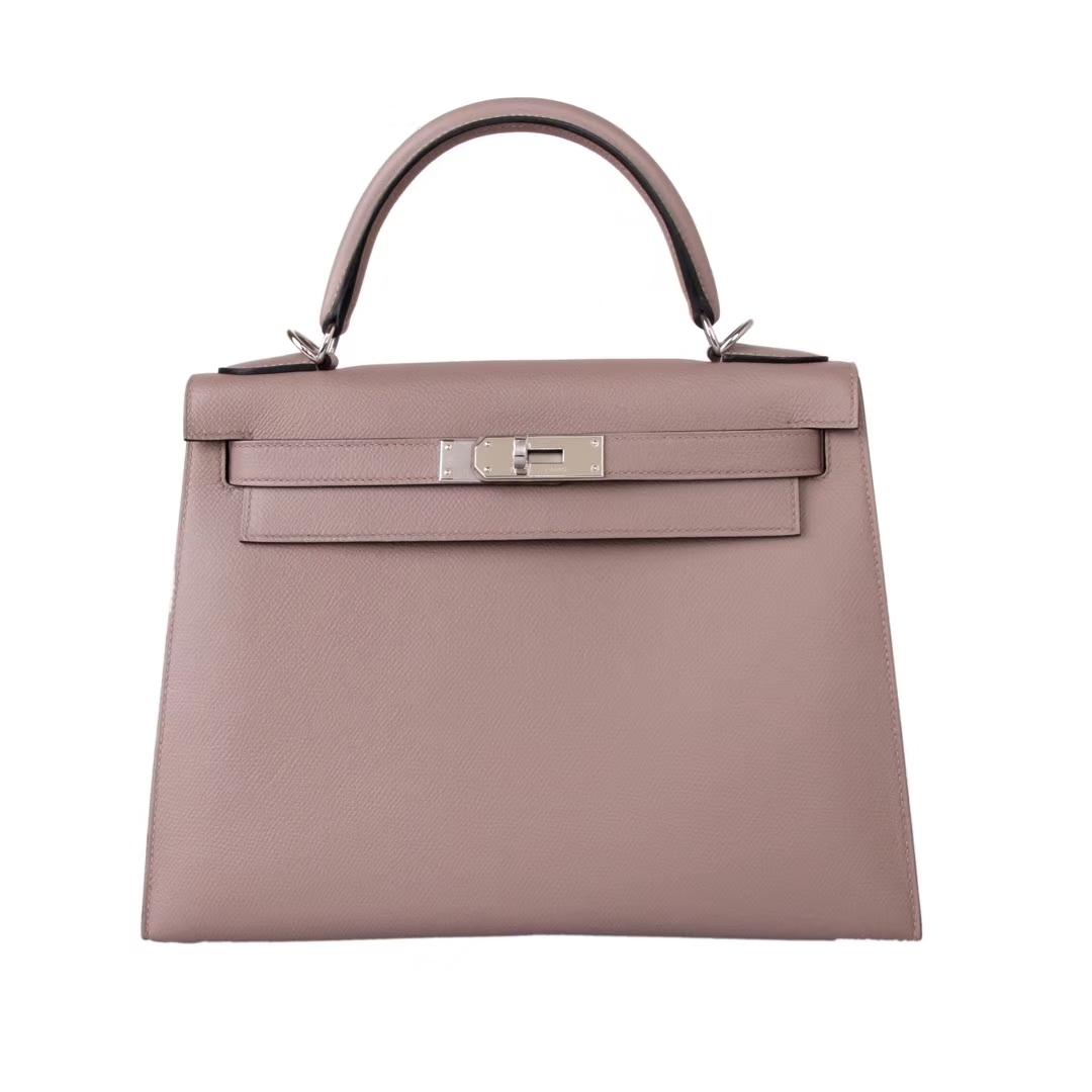 Hermès(爱马仕)Kelly 凯莉包 沥青灰 Epsom皮 银扣 28cm