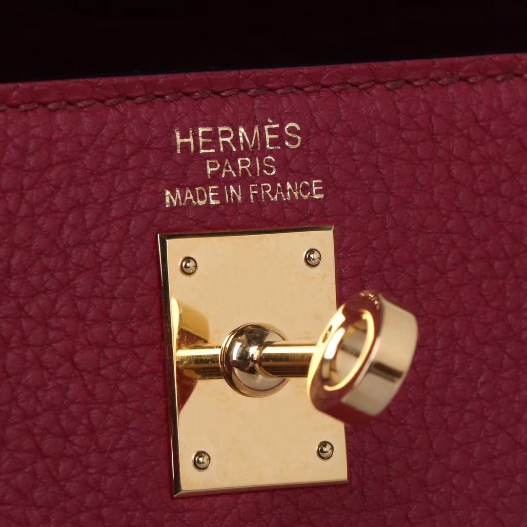 Hermès(爱马仕)Kelly 凯莉包 石榴红 EP皮 金扣 25cm