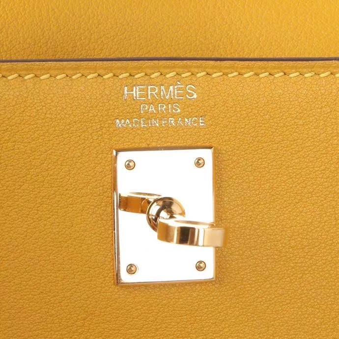 Hermes(爱马仕)Kelly danse 跳舞包 琥珀黄 swift皮 金扣 22cm