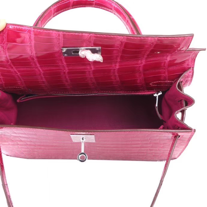 Hermès(爱马仕)Kelly 凯莉包  5J桃红 亮面鳄鱼皮 银扣 28cm