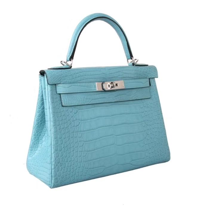 Hermès(爱马仕)Kelly 凯莉包 3Z圣希尔蓝 雾面鳄鱼皮 银扣 28cm