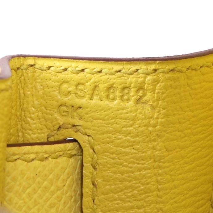 Hermès(爱马仕)Kelly 凯莉包 柠檬黄 Epsom 皮 金扣 28cm