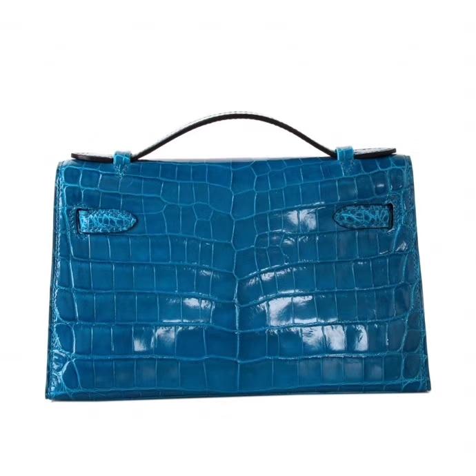 Hermès(爱马仕)mini kelly 一代 22cm 伊兹密尔蓝 鳄鱼皮 金扣