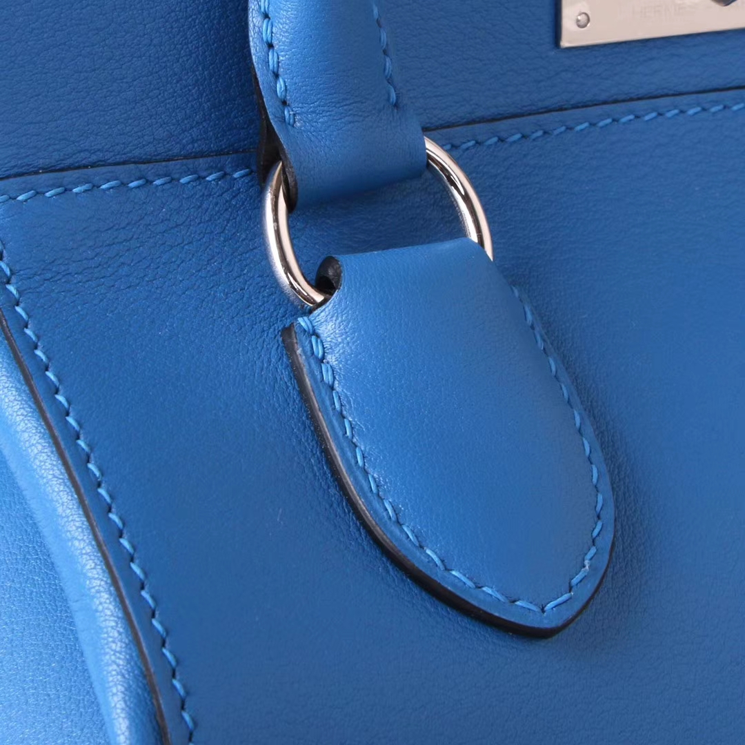 Hermès(爱马仕)Toolbox 牛奶盒 水妖蓝 swift皮 银扣 20cm