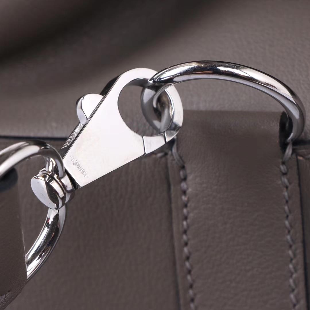 Hermès(爱马仕)Toolbox 牛奶盒 锡器灰 swift皮 银扣 20cm