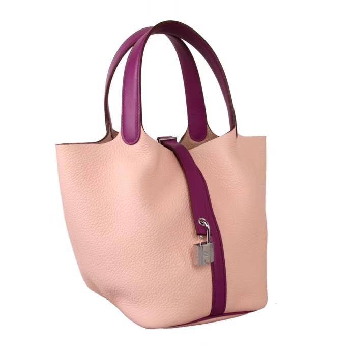 Hermès(爱马仕)Picotin 菜篮包 海葵紫拼水粉 togo 银扣 18cm