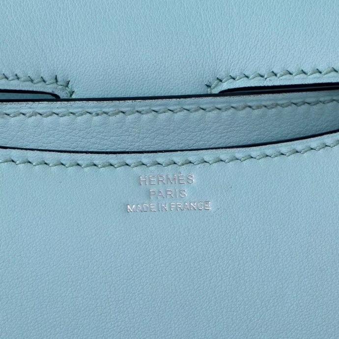 Hermès(爱马仕)Constace 空姐包 微风蓝 swift 银扣 19cm