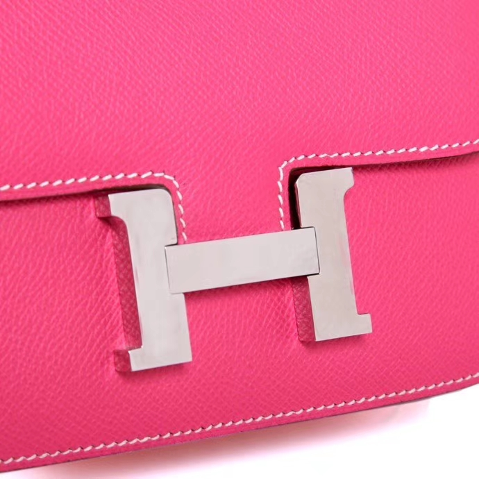 Hermès(爱马仕)Constace 空姐包 糖果粉 EP 银扣 19cm