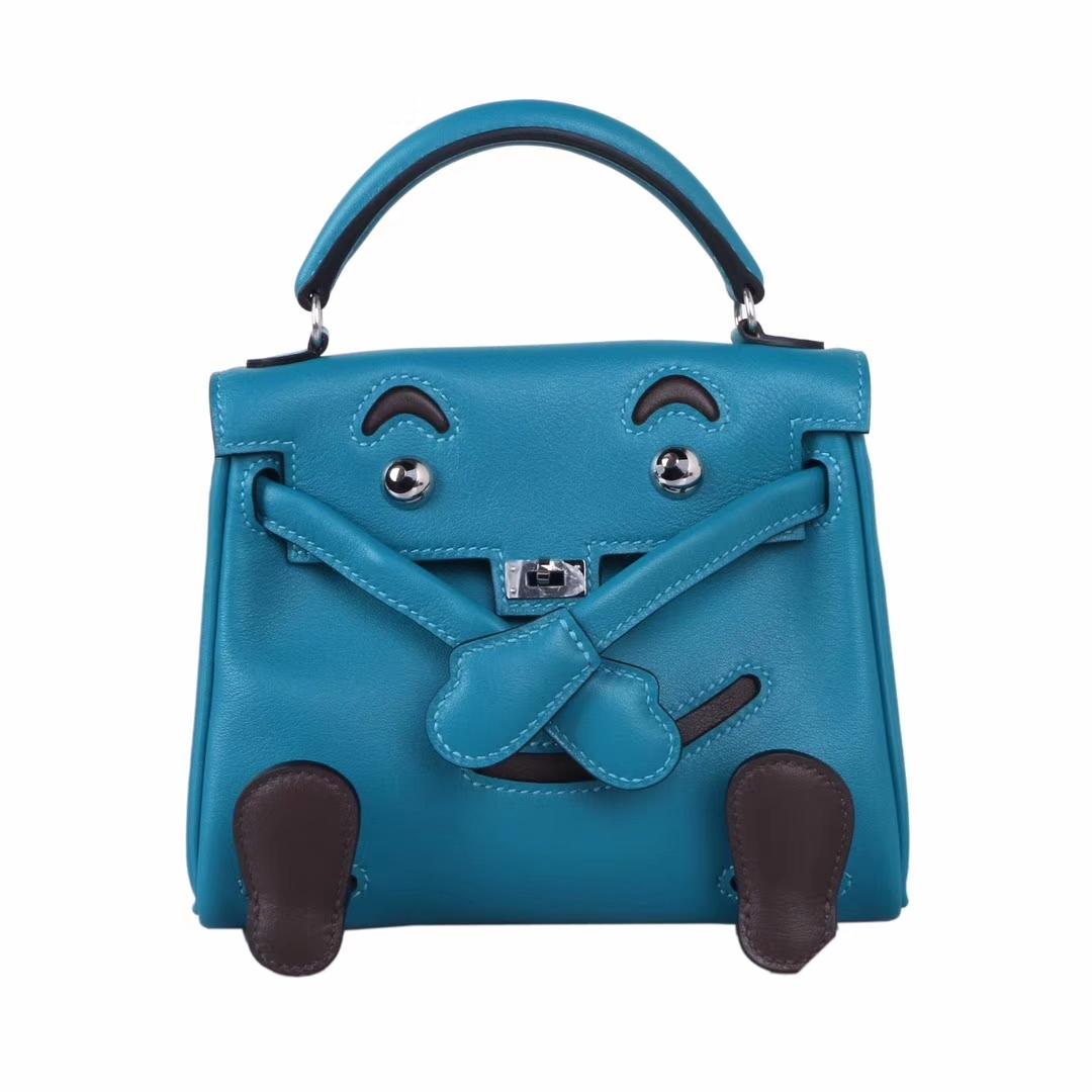 Hermès(爱马仕)kelly doll娃娃包 伊兹密尔蓝 swift皮 银扣 18cm