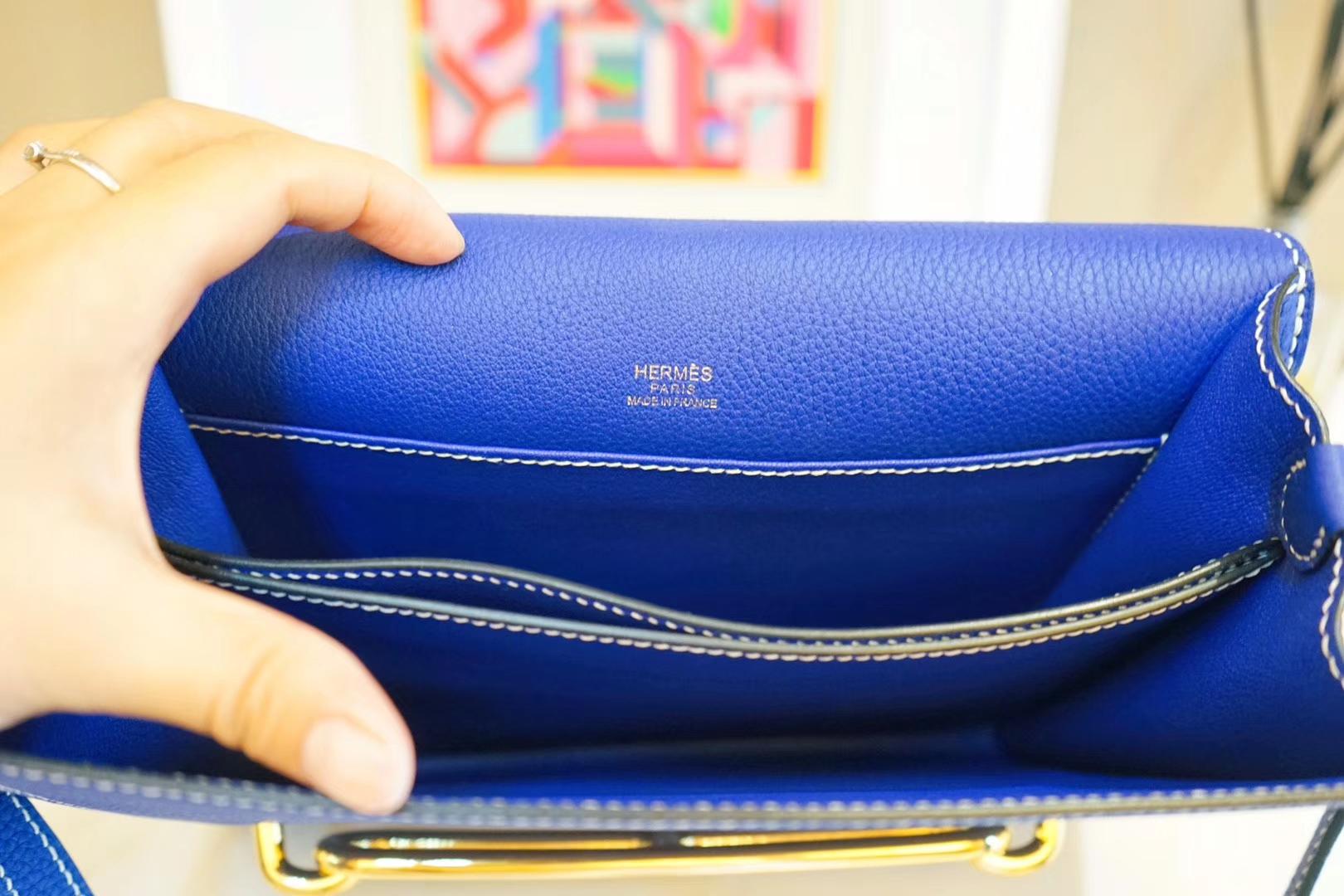 Hermès(爱马仕)roulis 猪鼻包 电光蓝 EV 金扣 23cm